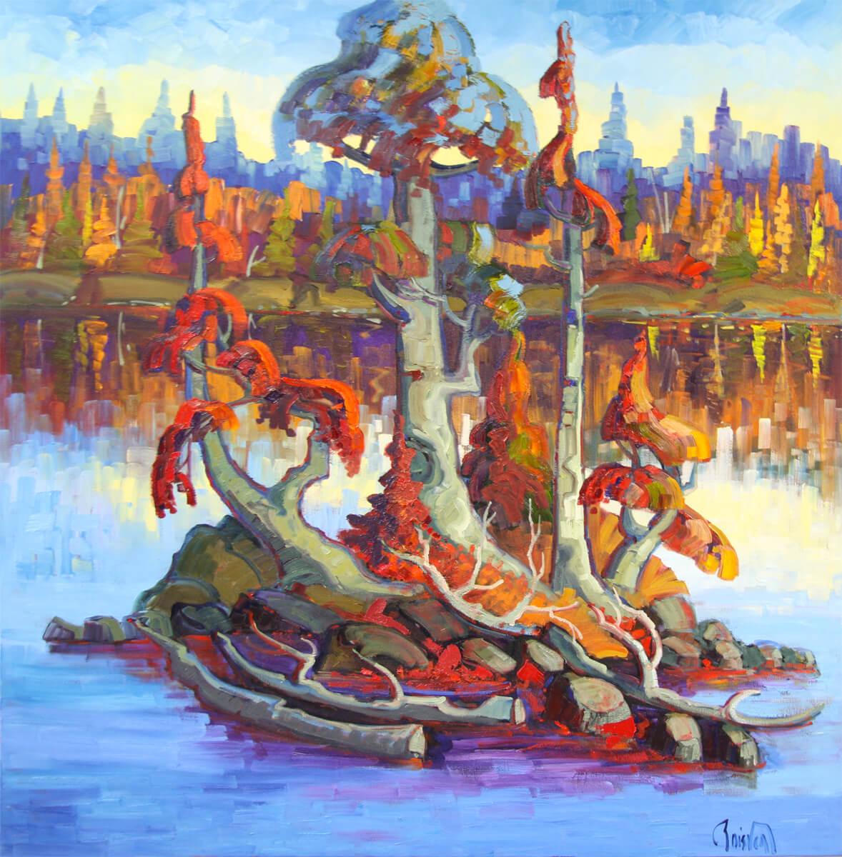 L'arbre penché aux couleurs d'automne - Normand Boisvert
