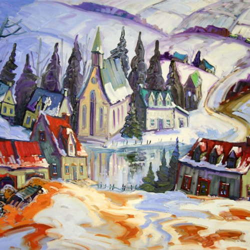 Reflet d'un village, Charlevoix - Normand Boisvert