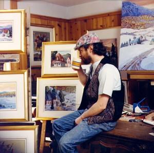 Normand Boisvert dans son atelier, 1980